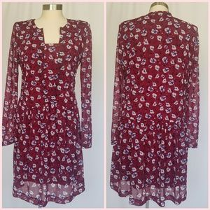 MNG Red Floral Long Sleeve Dress